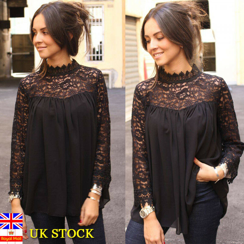 1c8f8f35e7 Details about Women Lace Hollow Gothic Steampunk Long Sleeve Blouse Ladies  Casual Tops T Shirt