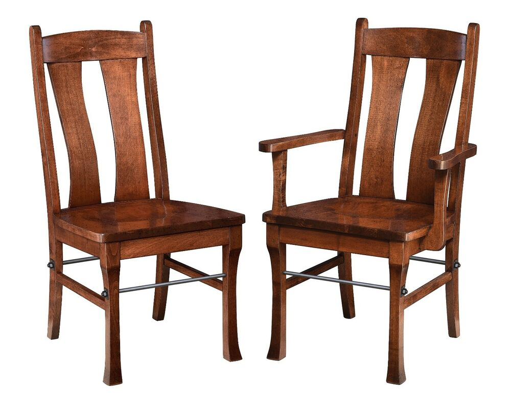 Details About SET OF 2 Brown Maple Gateway Dining Chairs W Steel Rod Side Or Arm Amish Made