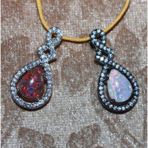 fire-opal-cz-necklace-pendant-gems-black-gold-filled-jewelry-classic-cocktail-s7