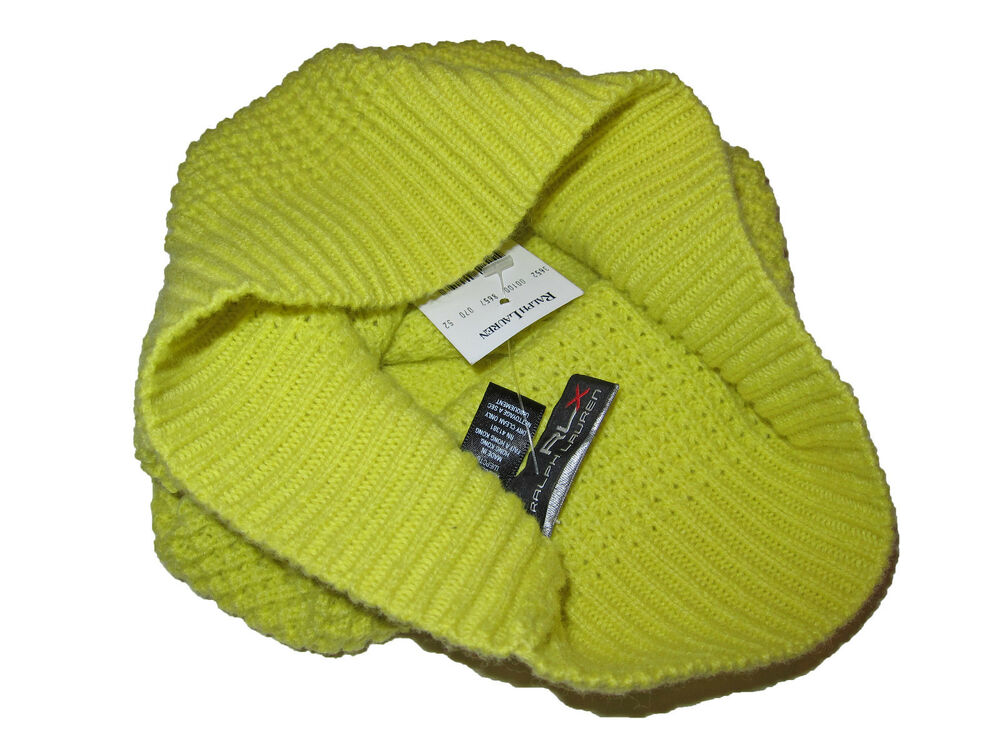 f3e3186d2f1 Details about RLX Ralph Lauren Neon Yellow Cashmere Wool Waffle Knit Beanie  Skull Cap Polo Hat