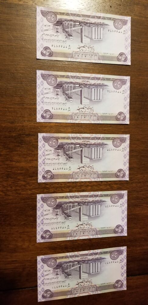 Details About Iraqi Dinar 50 Notes Uncirculated 5 Get 1 Free Deal Ship
