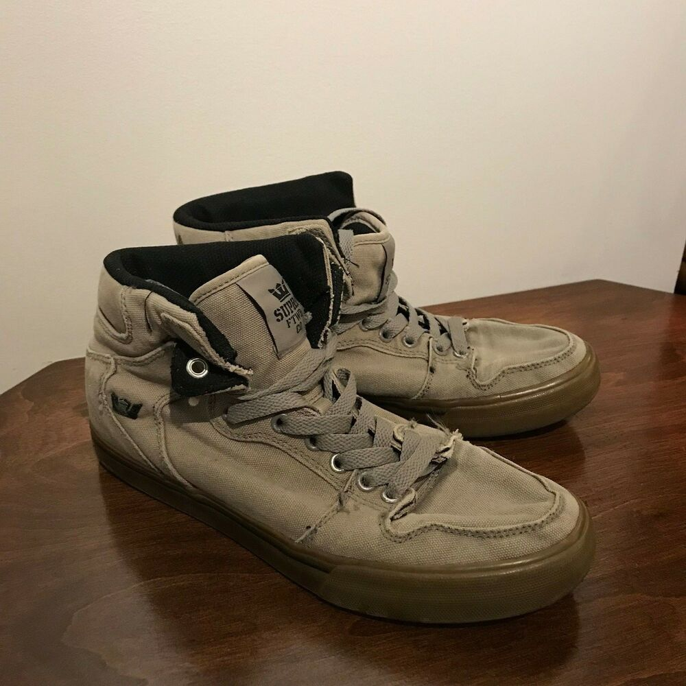 Details about Supra Vaider Mens Gray Canvas High Top Lace Up Sneakers Shoes  Mens 8 US 6061c7ff2