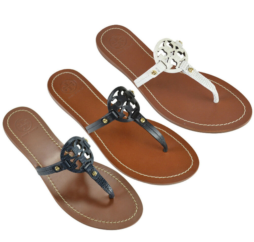 050157b8da39ed NIB Tory Burch Mini Miller Sandals Thong 6.5-9.5. - Leather upper. Leather  lining. - Rubber sole. - Buckle and charm detail. - Slip-on style.
