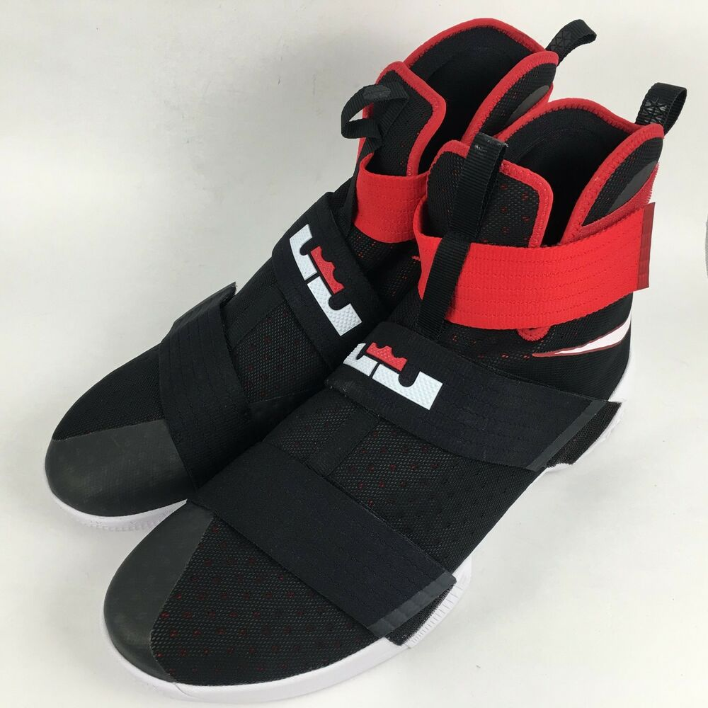 f68448a31c9 Details about Nike Lebron Soldier X 10 Basketball Shoes Black Red Bred  White Mens Size 18