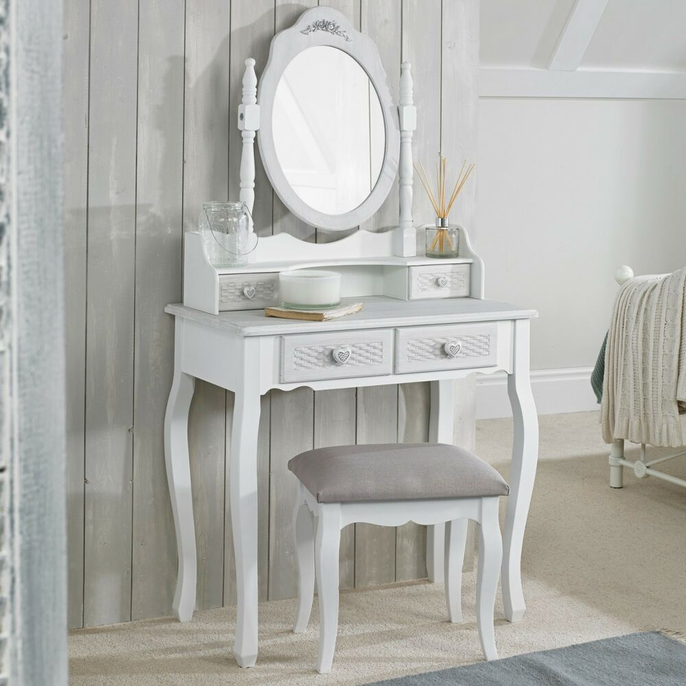 Details About Shabby Chic White Grey Upholstered Dressing Table Stool Only