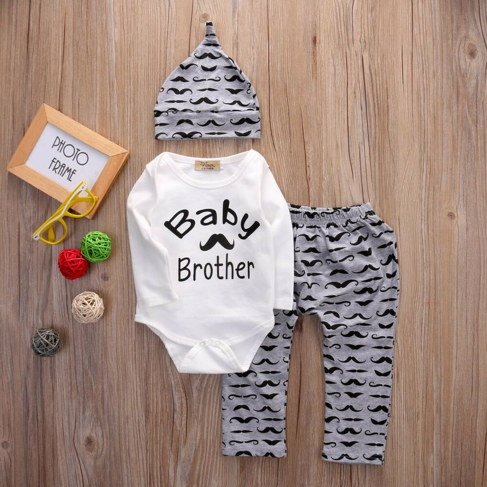 39b73dbed10d Details about USA Mommy s New Man Baby Boy Infant Romper Jumpsuit + Pants  Outfits Set Clothes