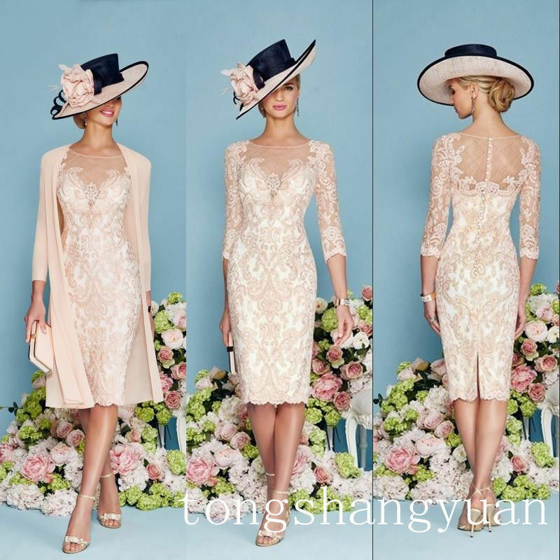 Pink Lace Mother Of Bride Dress Jacket Chiffon Coat Knee Length