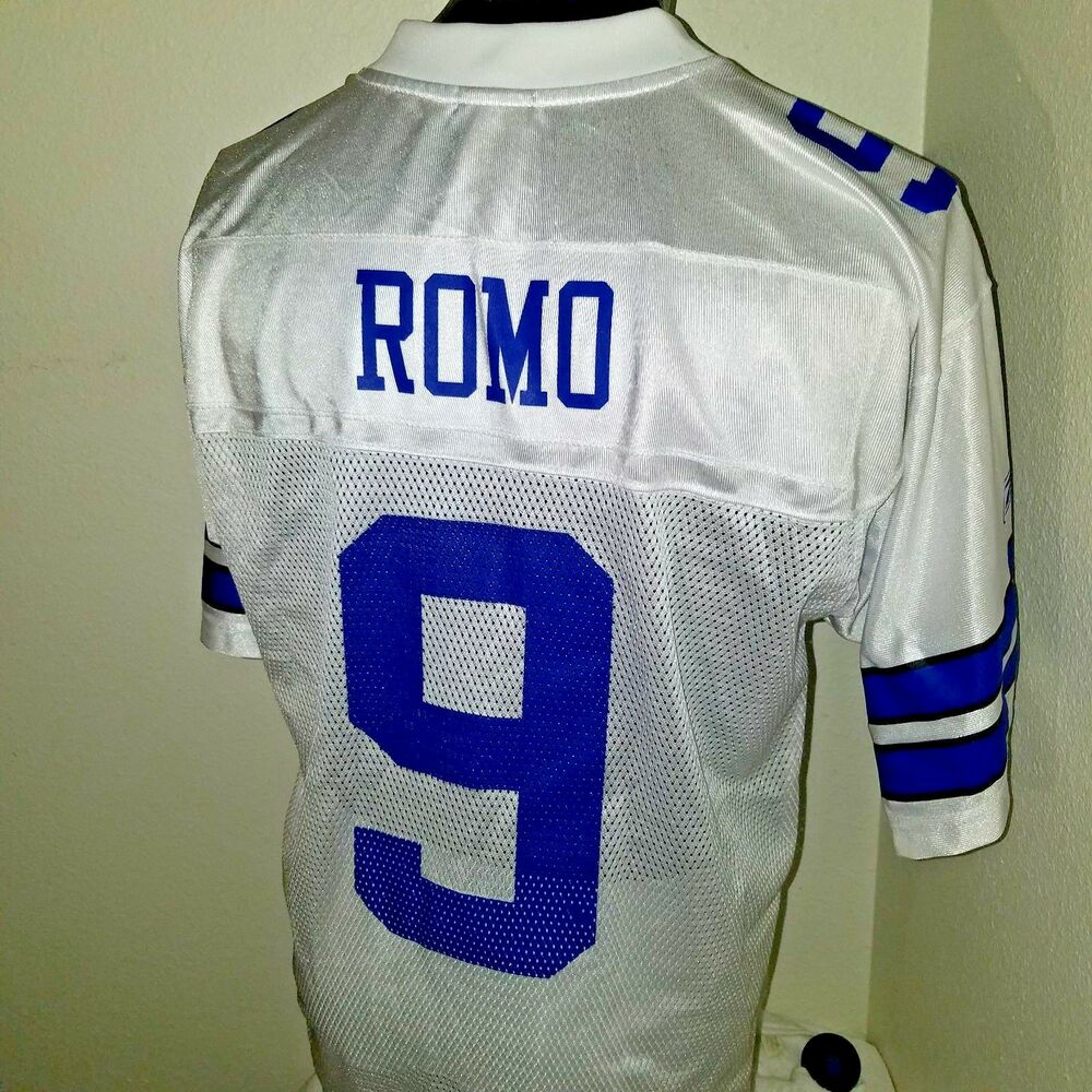 b96adc469 Details about Reebok Tony Romo Dallas Cowboys  9 Football ON The FIELD  Jersey Size M