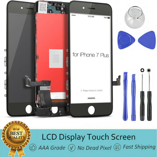 For iPhone 7P 7 Plus LCD Digitizer lTouch Screen Replacement - Black A1661 A1784