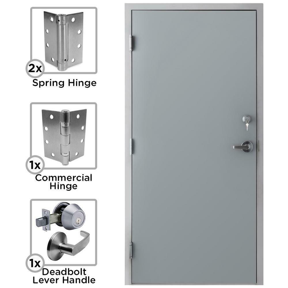 Commercial Steel Door Fire Rated Exterior Safety Entry Frame Right