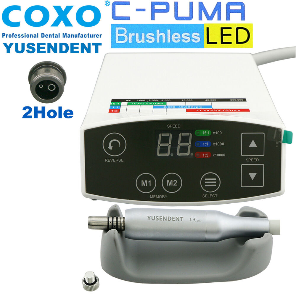 low priced 3f5a5 408e0 Details about COXO Dental Brushless LED Electric Mini Micro Motor C PUMA 2  Hole Handpiece NSK