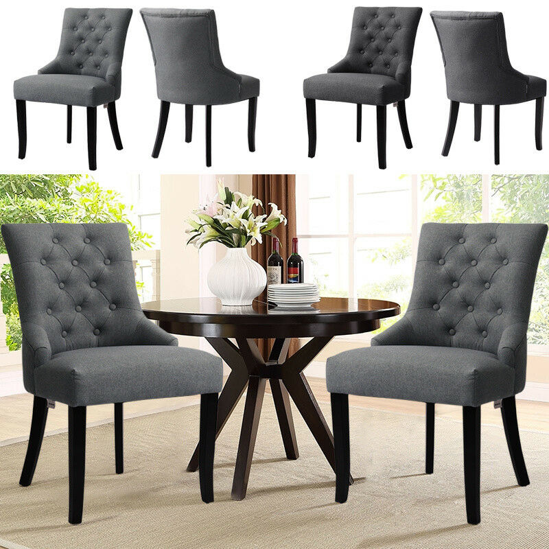 2pcs Modern Linen Dining Chairs Fabric Button Wing Back Armchair