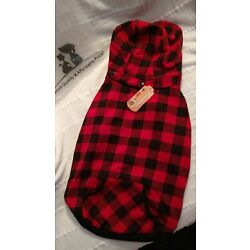 Dog Jacket Removable Hoodie red/ black plastic cotton  Size see measurements