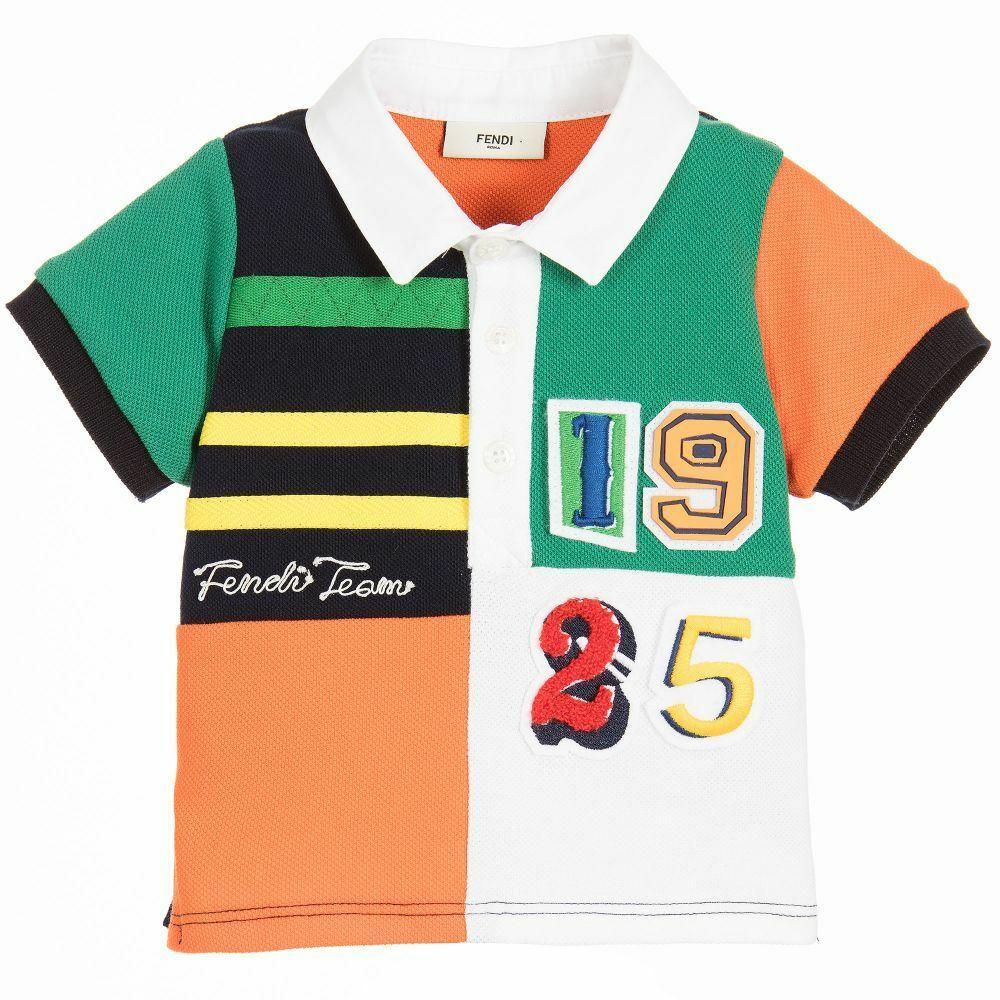 Nwt New Fendi Baby Boys 1925 Black Orange Green White Polo Shirt 3m