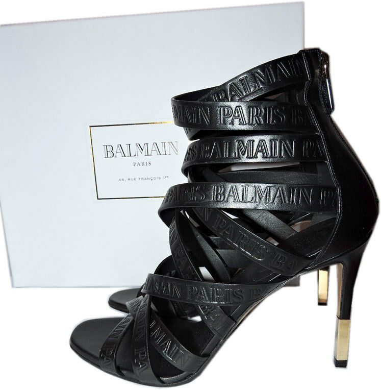 96f9203c3cbb Details about BALMAIN Charlotte Strappy Gladiator Leather Sandals Pumps  Shoe 39.5 Bootie