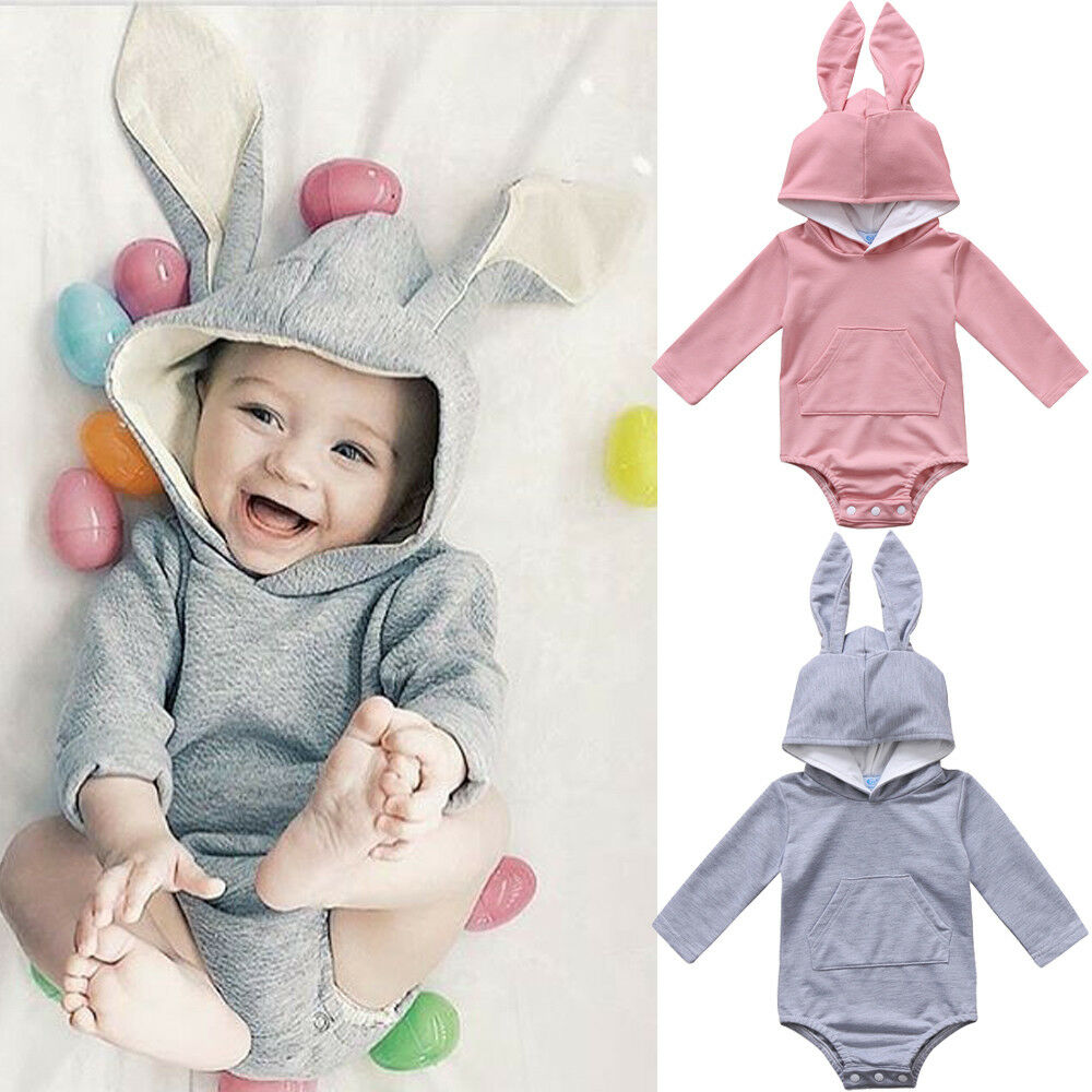 8bbf78b4cfd3 Details about Newborn Baby Girl Boy Long Sleeve Bunny Hooded Romper Outfit  Bodysuit Easter