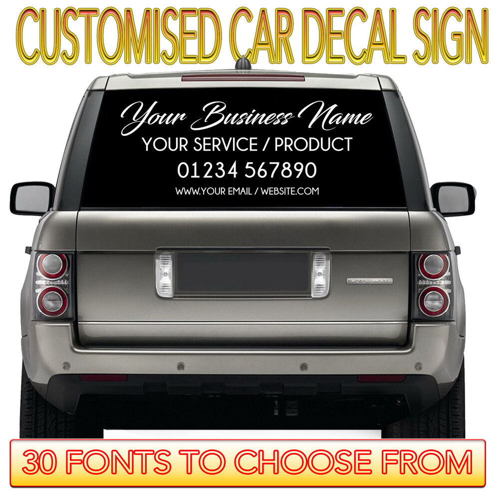 Details about personalised business name sticker car van rear window 150cm