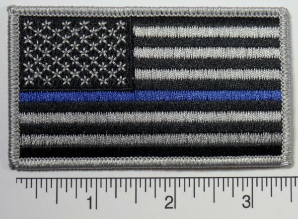 American Flag BLUE LIVES MATTER POLICE Embroidered Patch 3.5x2
