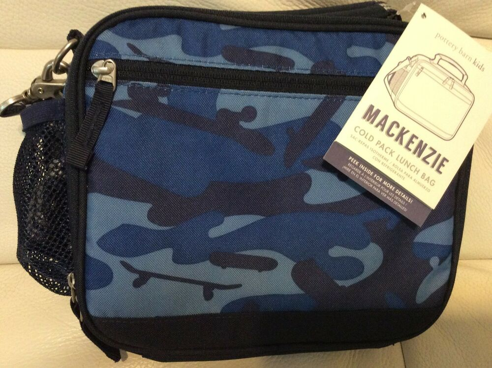 Details about Pottery Barn Kids Mackenzie Cold Pack Lunch Bag Camo  Skateboard NWT Navy Blue 9c400749ad246