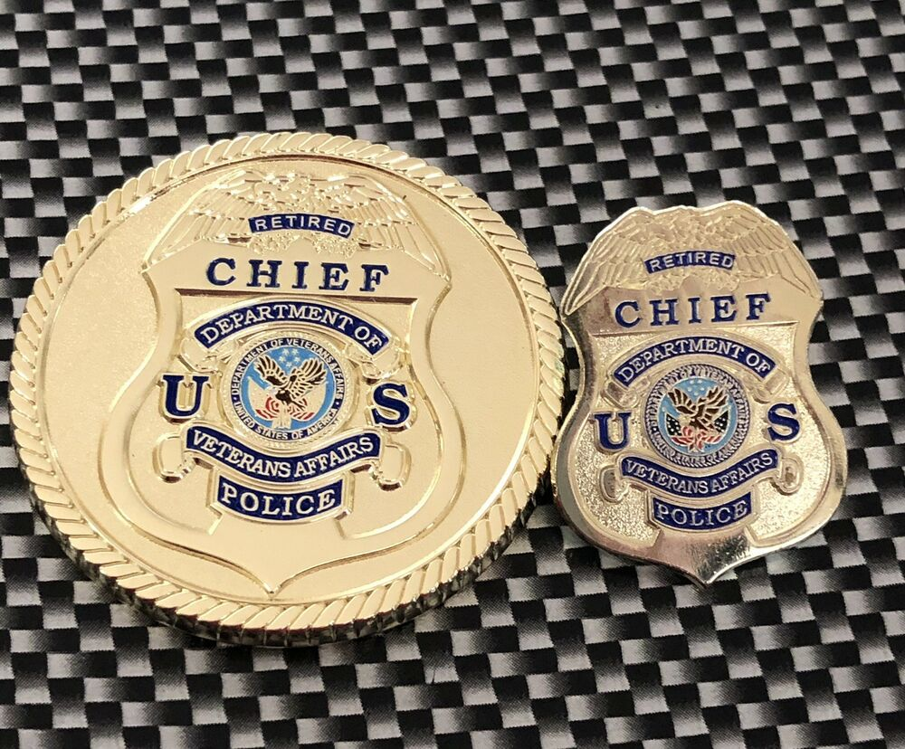 Veterans Affairs Police Retired Chief Challenge Coin And Lapel Pin