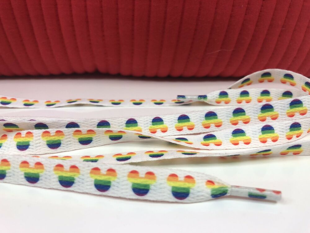 fd4d4ea7225 Details about 1 Set Of Disney Pride Rainbow Mickey Mouse Heads Shoelaces 42  Inch Long Lisa