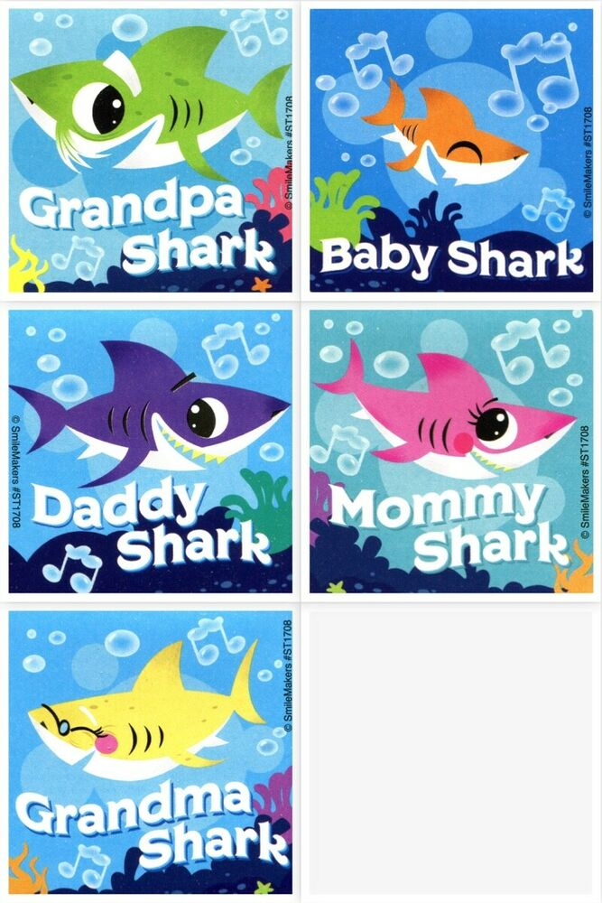 Details About Baby Shark Stickers X 5