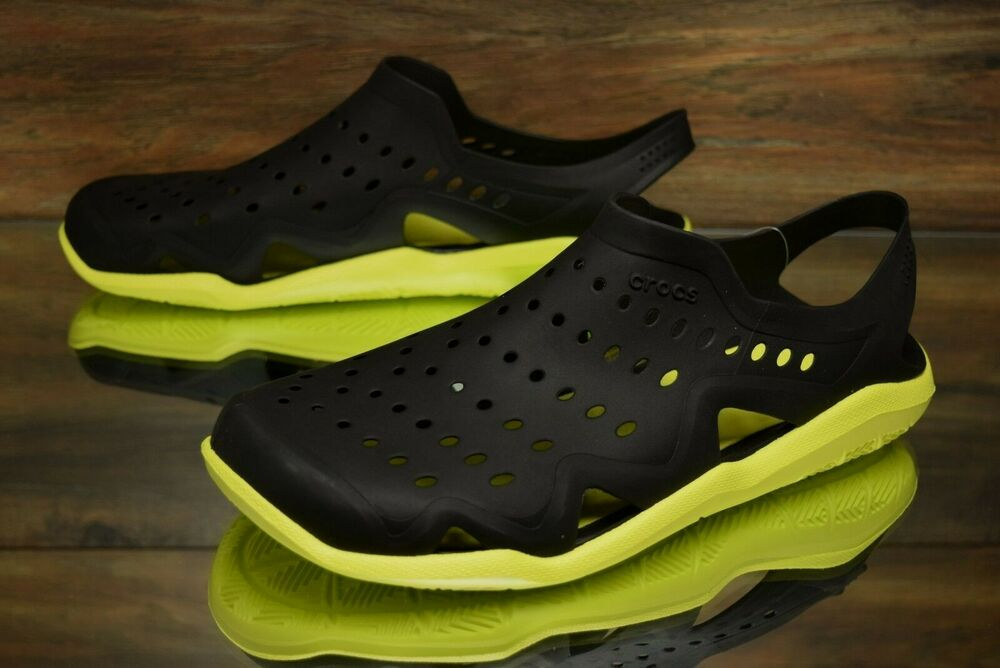 b03e639ffca49f Details about Crocs Swiftwater Wave Black Green 203963-0DW Water Sandals  Men s Multi Size NEW