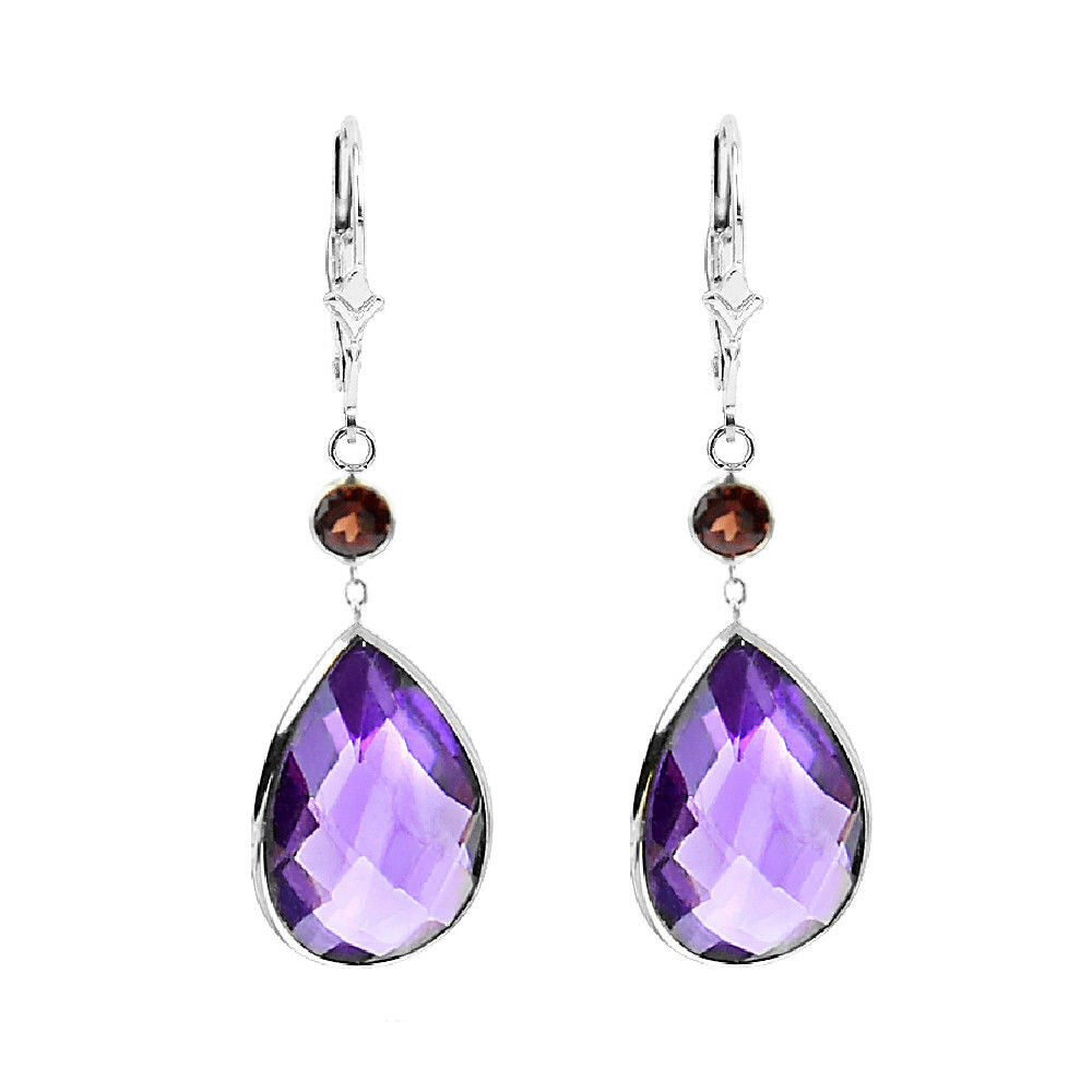 14k White Gold Gemstone Earrings With Pear Shape Amethyst And Round Garnet Ebay