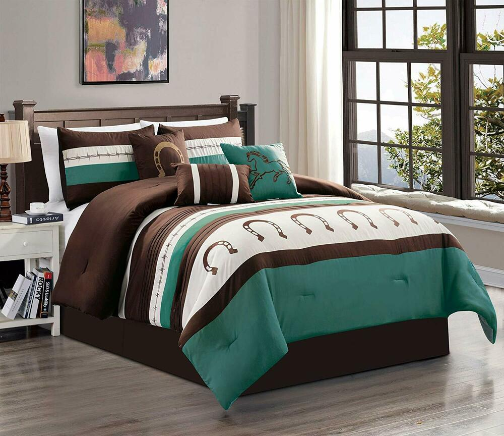 Details About Queen King Bed Teal Blue Brown White Cowboy Western Horseshoe  7 Pc Comforter Set