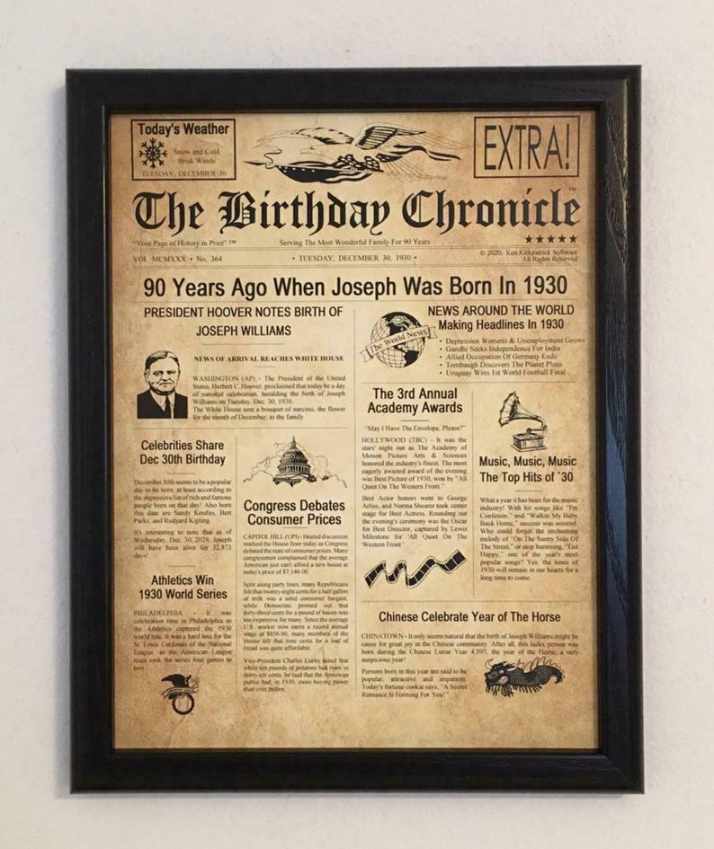Details About 90th Birthday Gift 90 Years Old Gifts Party Decor 1929 Print
