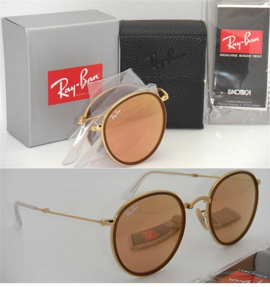 129cc61851320 Folding Round Ray-Ban RB 3517 001 Z2 51mm Gold Frame Pink Mirror Lenses  8053672233780