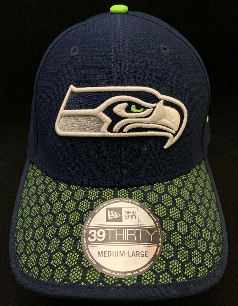 low priced f73d3 3db26 Details about NFL Seattle Seahawks New Era 39Thirty Sideline Hat Cap Navy  FlexFit MEDIU-LARGE