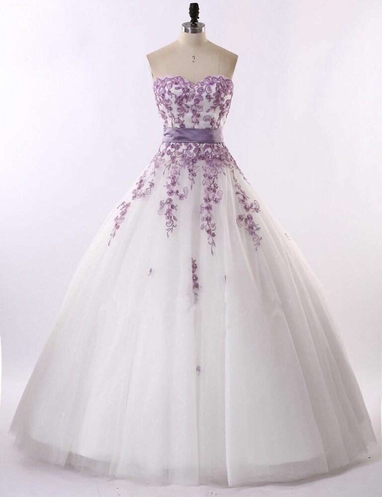 82a97d460 Details about 2018 White/Ivory And Purple Florals Lace Wedding Dresses  Bridal Gown Custom Size