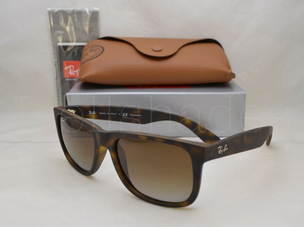 75aff38a91 Details about Ray Ban JUSTIN (RB4165-865 T5 55) Matte Tortoise with Brown  Grad Polarized Lens