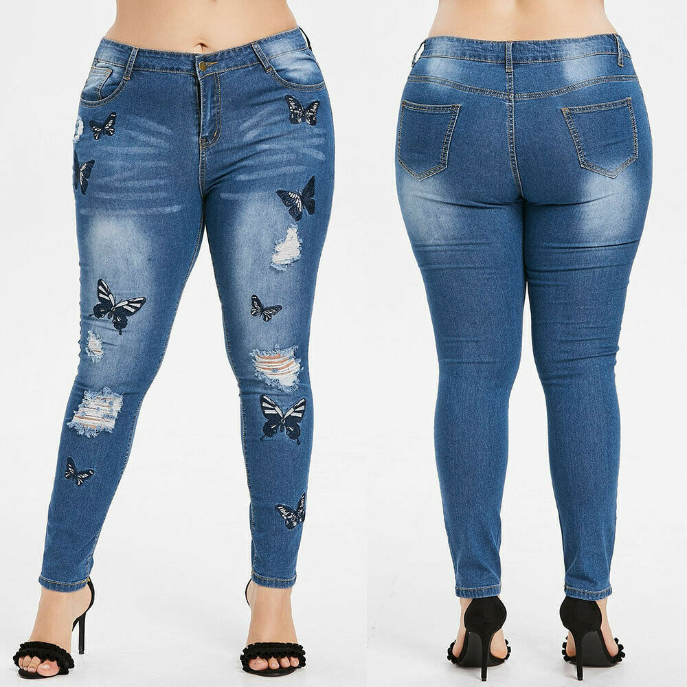 Glamzam New Womens Ladies Light Blue High Waisted Ripped Denim Stretch Jeans
