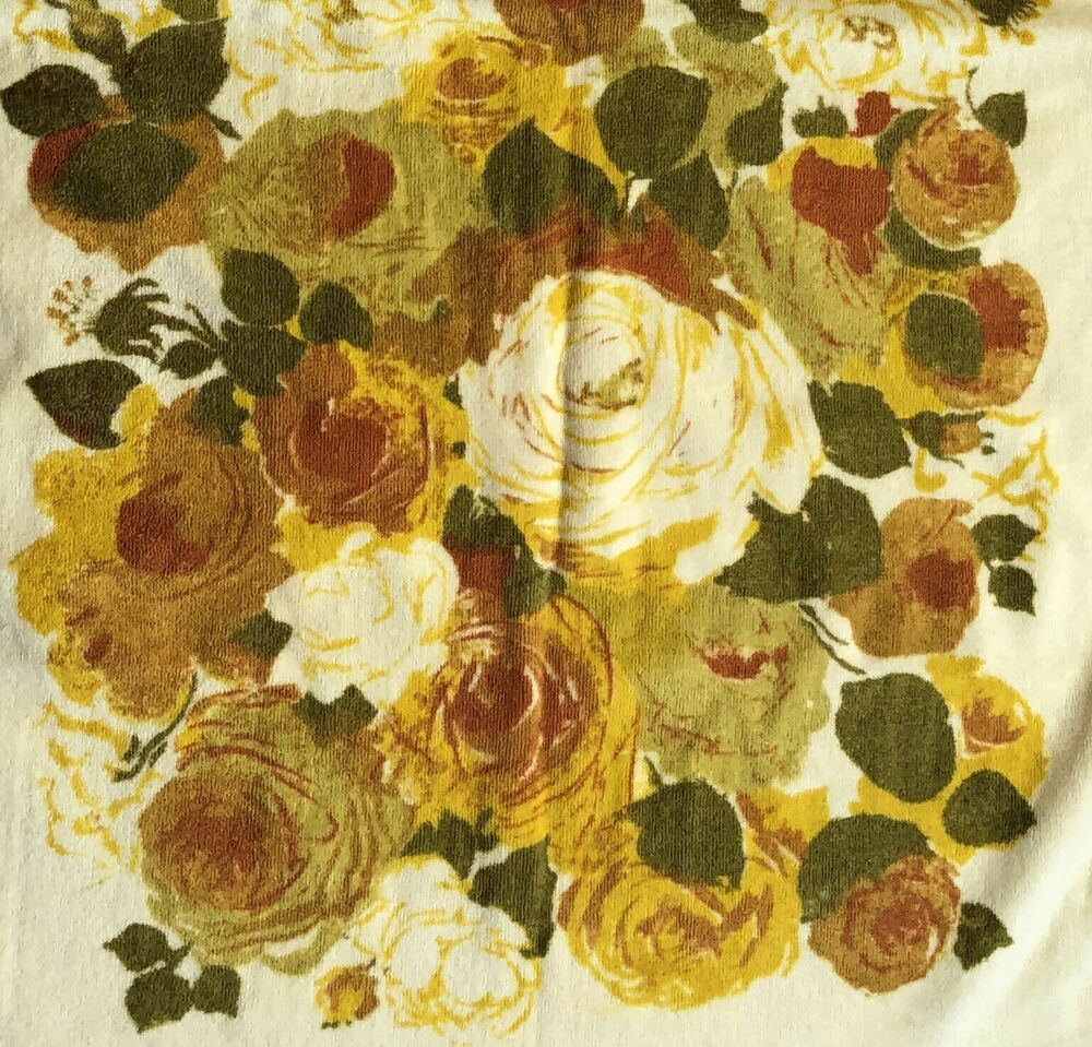 Who Sells Cannon Bath Towels: Vintage Cannon Monticello Yellow Roses Floral Bath Towel