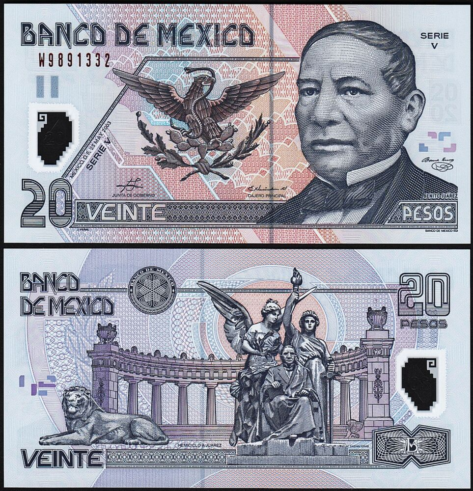 Unc Paper Money: World North & Central America Qualified Mexico Banknote P116d 20 Pesos 23 March 2003 Serie W