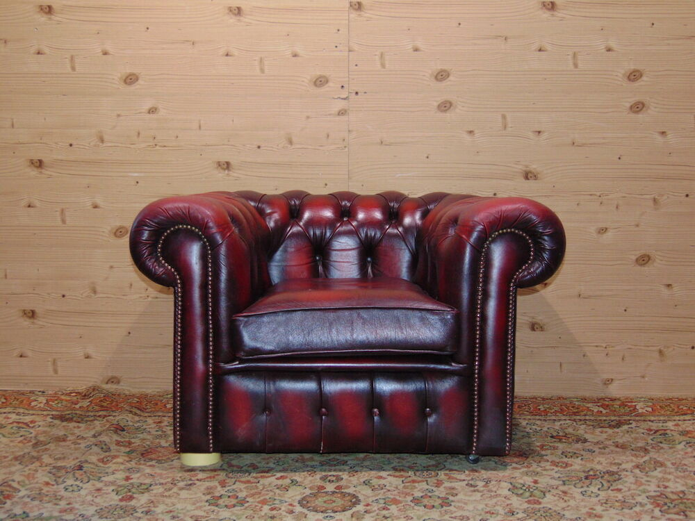 3-seater Chesterfield sofa, original English Vintage in bordeaux ...