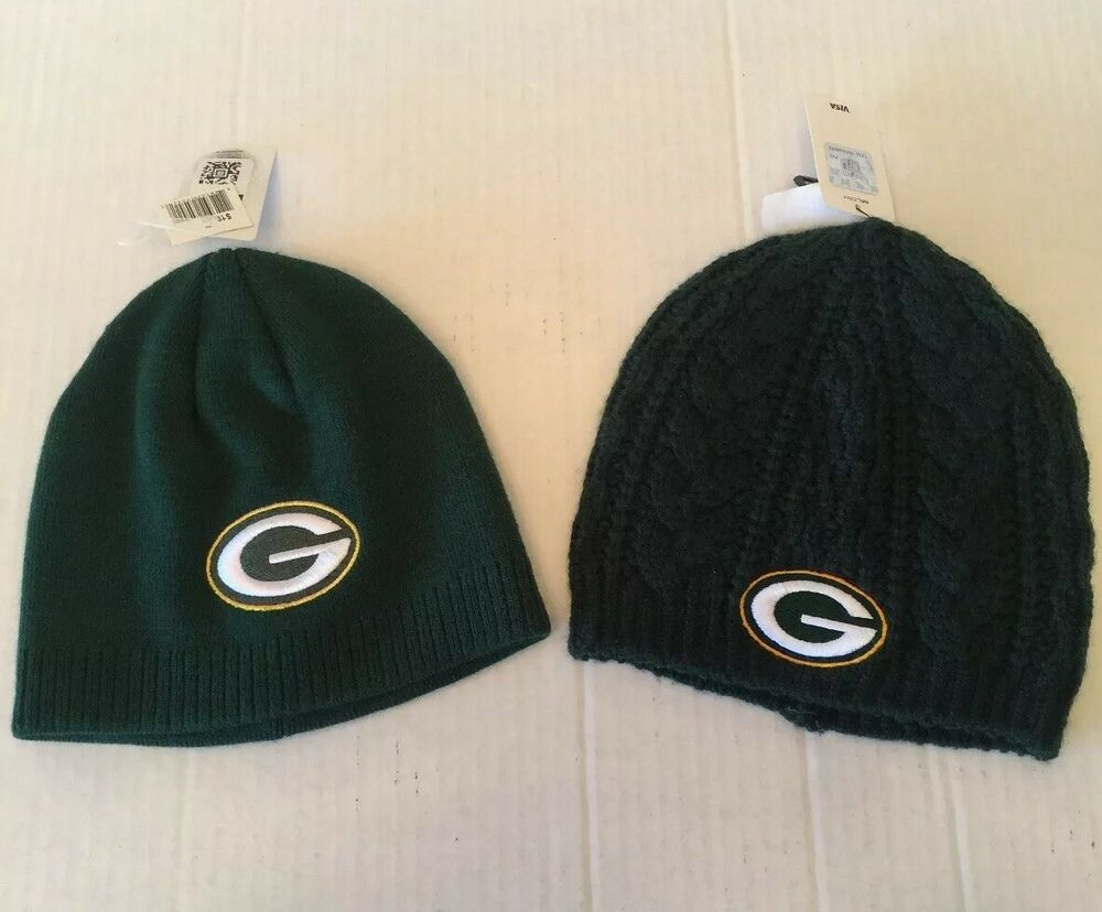 e576c1b70c4 Details about Green Bay Packers Womens Hats Set 2 Knit NWT Different Beanie  Skull Cap Green
