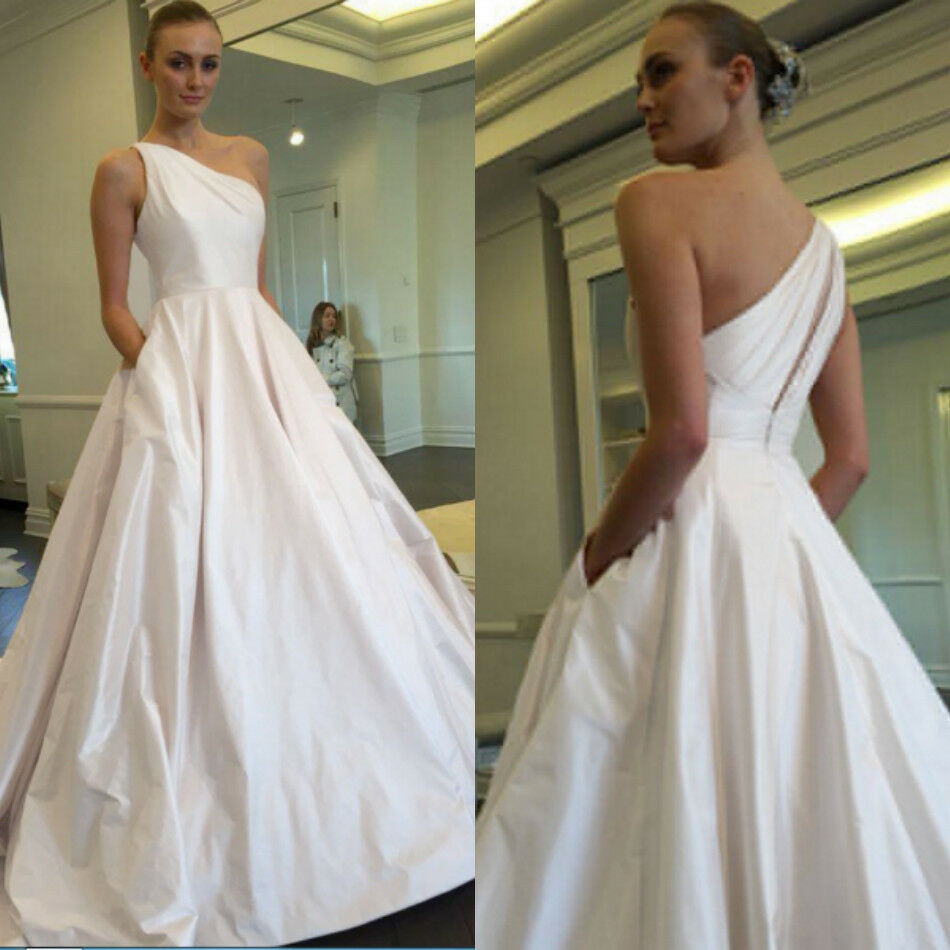 1ed6e3089f9 Details about A Line One Shoulder Pleated Satin Wedding Dress Custom Bridal  Gown With Pockets