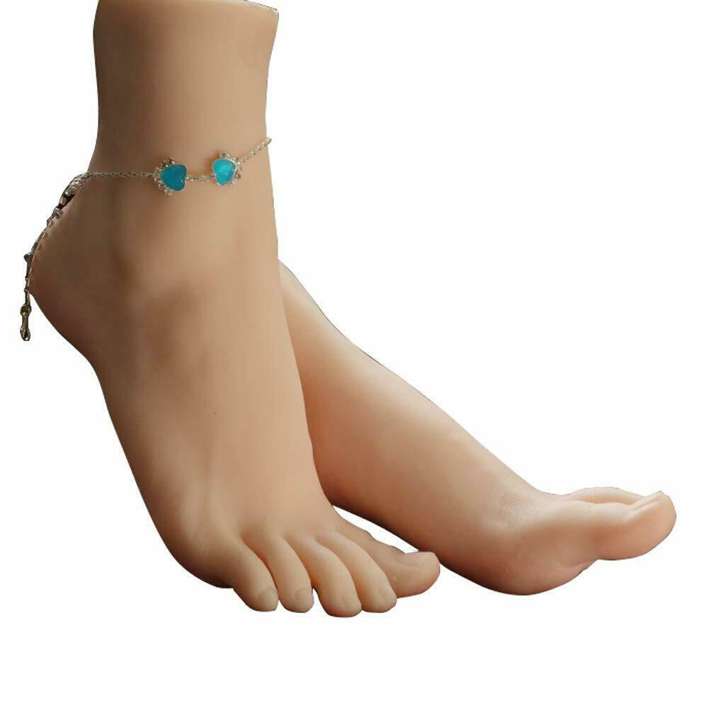 Details about 1 Pair Silicone Lifesize Female Mannequin Foot fetish Display  Jewerly Sandal New