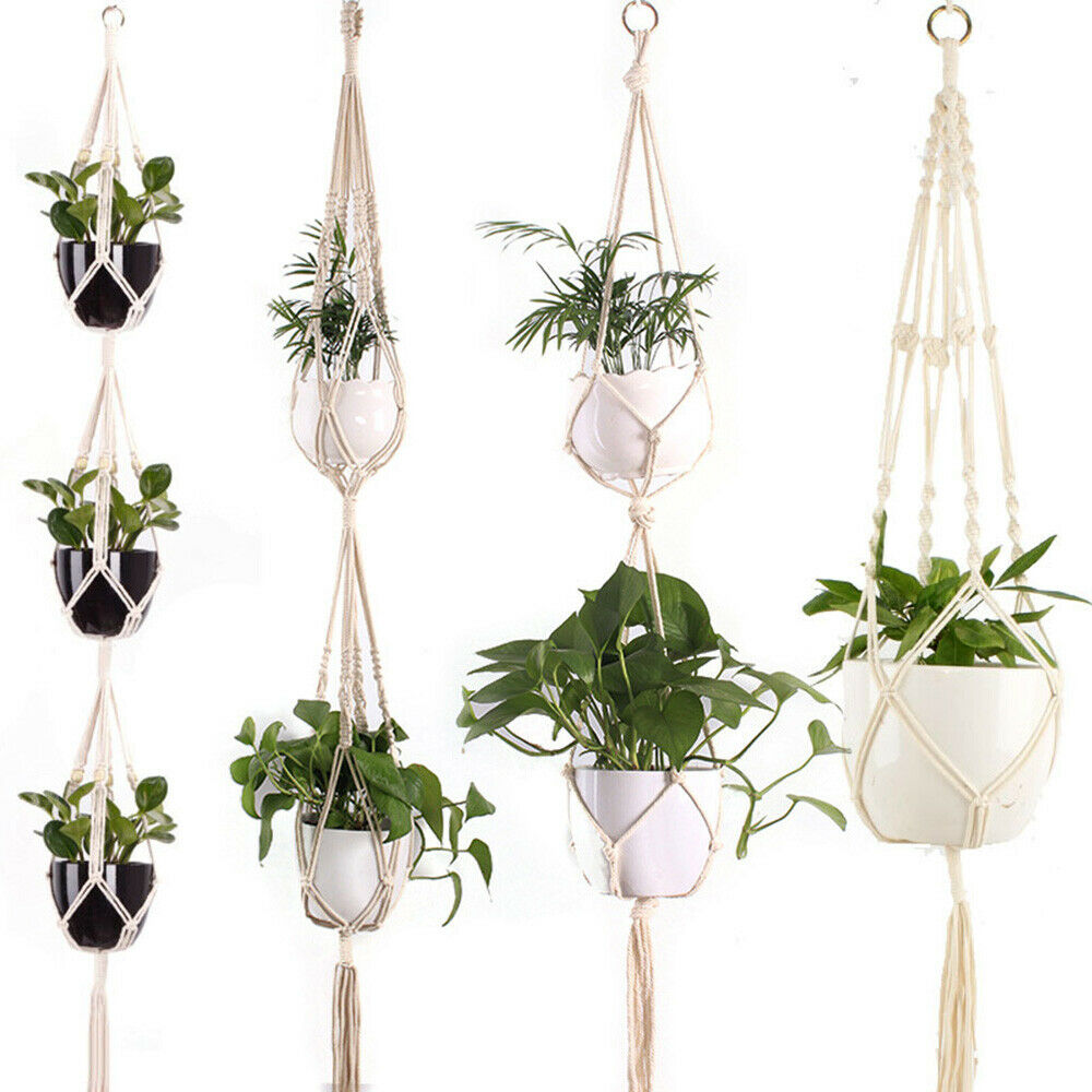Details About Vintage Macrame Plant Hanger Flower Pot Garden Holder Hanging Rope Basket Gg