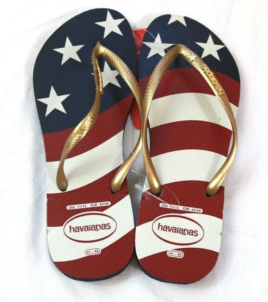 f744f38bf25f Details about Havaianas Flip Flop Thong Sandals 9 10 Stars and Stripes Navy  Blue Red. Listed for charity