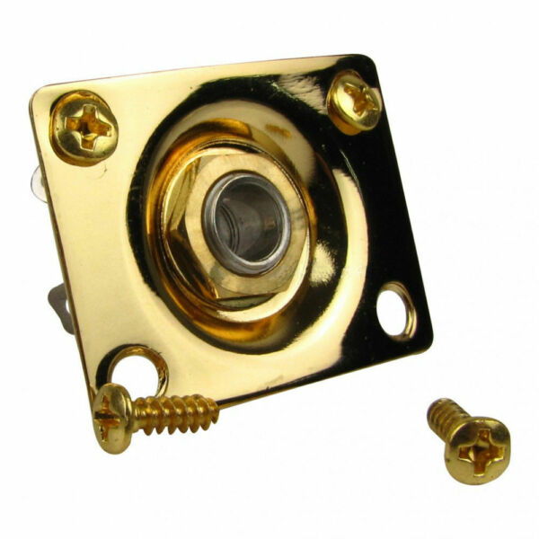 Gold Rectangle Input Output Jack Plate for Electric Telecaster Ibanez Guitar