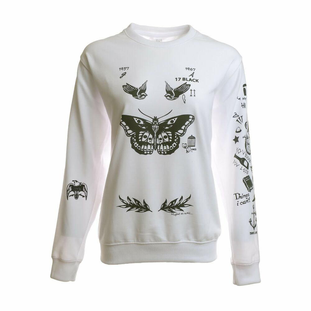 d0aefaaf0 Details about Harry Styles Tattoo Sweatshirt Sweater Crew Neck White Shirt