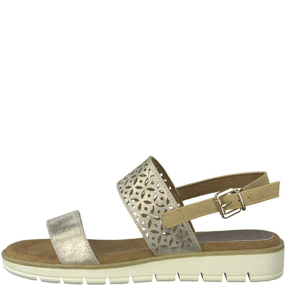 1a1566417c Details about Ladies Dune Metallic Wedge Heel Ankle Strap Summer Sandals  Marco Tozzi 28600