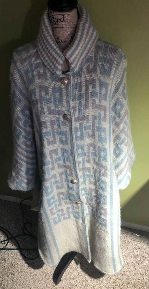 Details about Vintage HILDA Ltd Womens Long Cardigan Sweater 100% Pure Wool  One Size W Design 1737bc63e