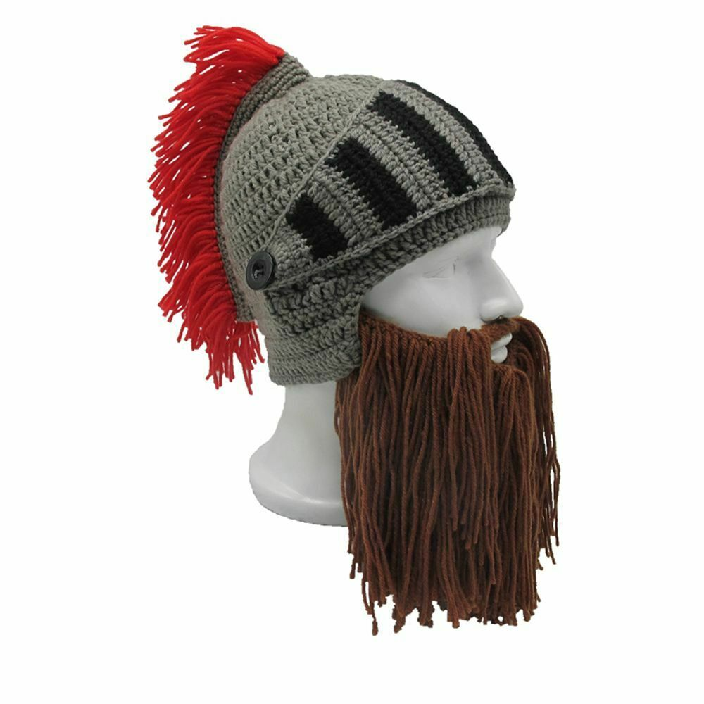 a99ea306271e1 Details about Roman Knight Red Tassel Christmas Gifts Ski Cap Beanie Masks  Cosplay Beard Hats