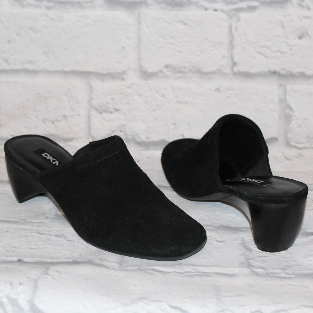 517db7ebe60 Details about Women s DKNY Black Suede Leather Slip On Mules Wedge Shoes  size 6M