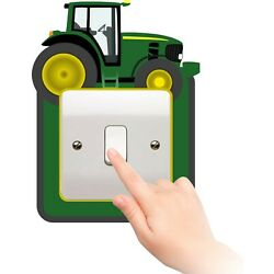 SR26 TRACTOR FARM LIGHT SWITCH SURROUND GREEN bedroom WALL ART DECAL  ANIMAL